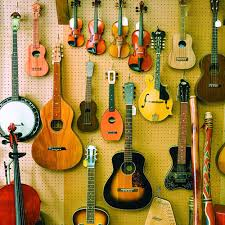 musical instruments hanging on a wall